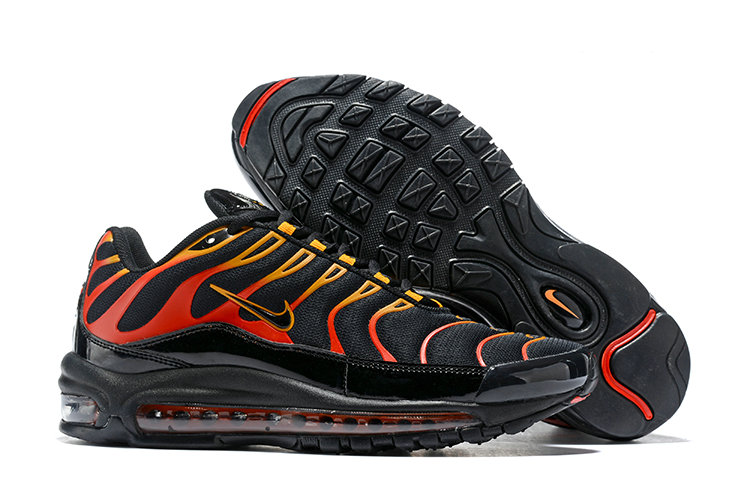 Wholesale Cheap Nike Air Max 97 Plus TN Mens Black Gold Red-www.wholesaleflyknit.com