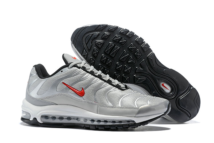 Wholesale Cheap Nike Air Max 97 Plus TN Mens Silver Grey Red Black White-www.wholesaleflyknit.com