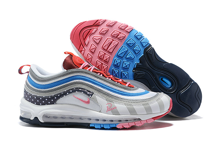 Cheap Wholesale Nike Air Max 97 Running Shoes White Grey Blue Pink- www.wholesaleflyknit.com