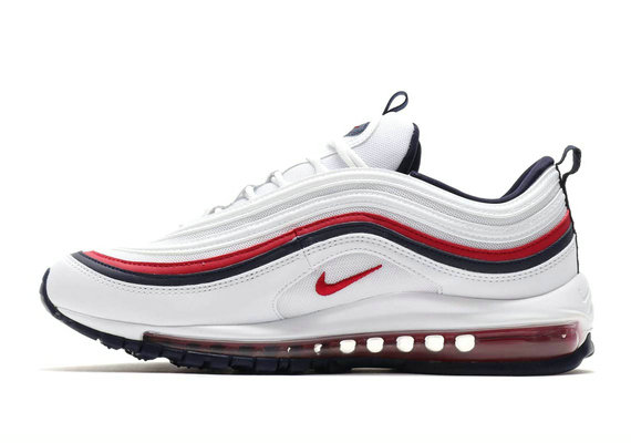 Cheap Wholesale Nike Air Maxs 97 White Red Black Shoe On www.wholesaleoffwhite.com