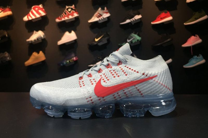 Wholesale Cheap Nike Air VaporMax Flyknit Pure Platinum University Red-Wolf Grey 2017 For Sale - www.wholesaleflyknit.com