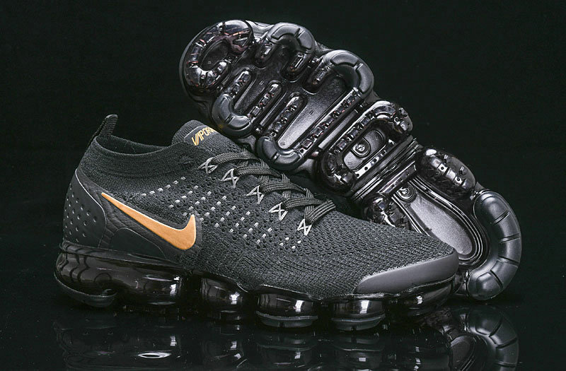 Cheapest Wholesale Nike Air Vapormax Flyknit 2018 V2 Black Gold 942842-203 - www.wholesaleflyknit.com