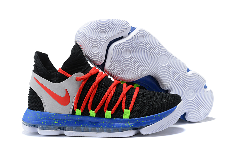 Wholesale Cheap Nike KD 10 Black Red-Cool Grey-Blue For Sale - www.wholesaleflyknit.com