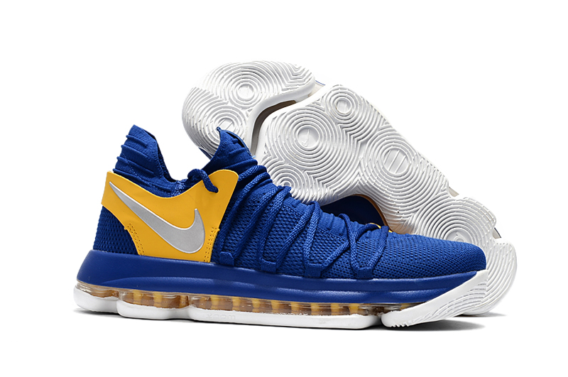 Wholesale Cheap Nike KD 10 Golden State Warriors Blue Yellow-White For Sale - www.wholesaleflyknit.com