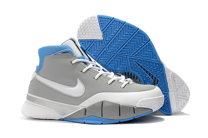 Cheap Wholesale Nike Kobe 1 Protro Basketball Shoes Grey White Blue- www.wholesaleflyknit.com