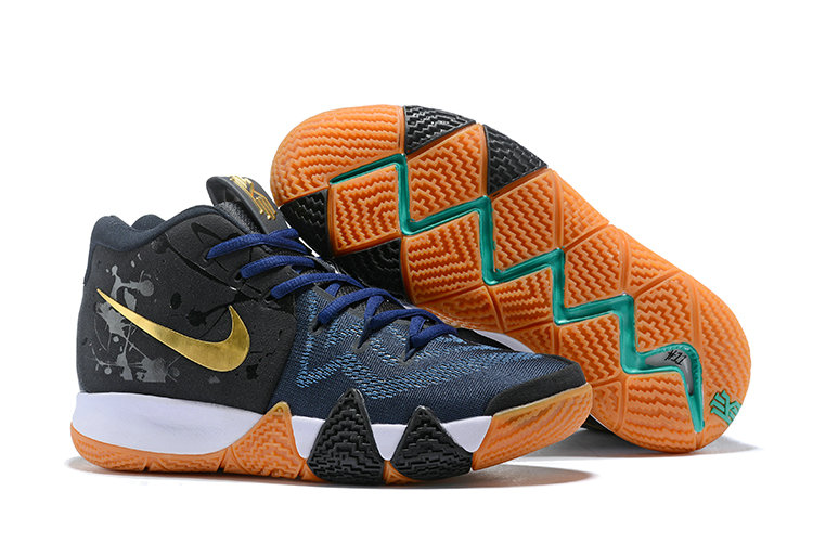 Cheap Wholesale Nike Kyrie 4 Irving Basketball Shoes Gold Black Navy Blue White- www.wholesaleflyknit.com