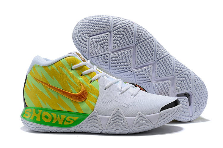 Cheap Wholesale Nike Kyrie 4 Irving Basketball Shoes Gold Green White- www.wholesaleflyknit.com