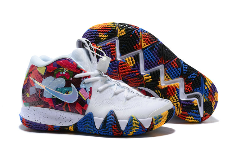 Cheap Wholesale Nike Kyrie 4 Irving Basketball Shoes White Flower- www.wholesaleflyknit.com