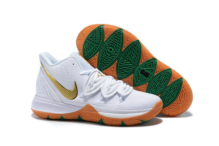 Cheapest Wholesale Nike Kyrie 5 Gets A Lucky Irish Colorway White Metallic Gold-Pure Platinum AQ2456-170 - www.wholesaleflyknit.com