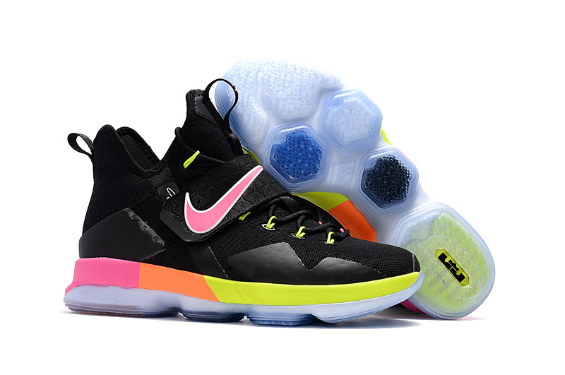 Wholesale Cheap Nike LeBron 14 Black Rainbow For Sale - www.wholesaleflyknit.com