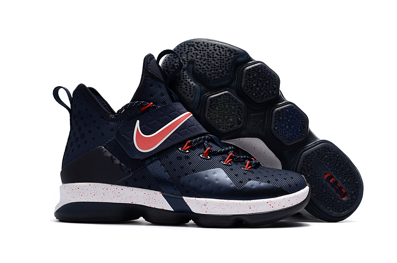 Wholesale Cheap Nike LeBron 14 Navy Red-White For Sale - www.wholesaleflyknit.com