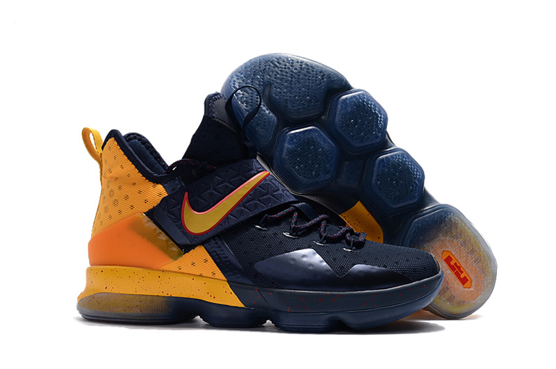 Wholesale Cheap Nike LeBron 14 Navy Yellow-Red For Sale - www.wholesaleflyknit.com
