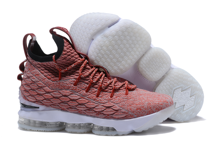 Wholesale Cheap Nike LeBron 15 Red Wine Red Flyknit White For Sale - www.wholesaleflyknit.com