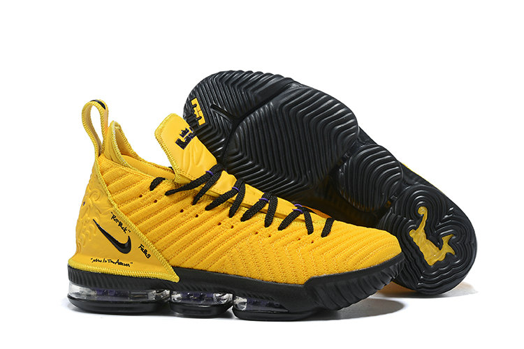 Cheapest Wholesale Nike LeBron 16 PE  LBJ Yellow Black Triple-Double - www.wholesaleflyknit.com