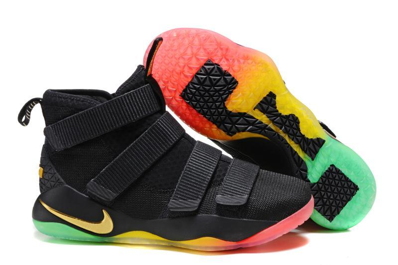 Wholesale Cheap Nike LeBron Soldier 11 Black Gold Rainbow Basketball Shoes  For Sale - www. 923e1d8c5