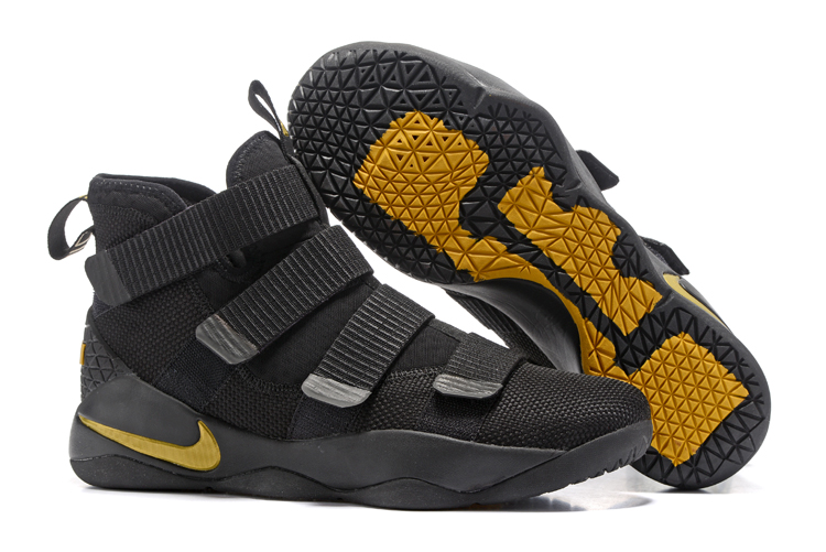 Wholesale Cheap Nike LeBron Soldier 11 Black Golden Yellow For Sale - www.wholesaleflyknit.com