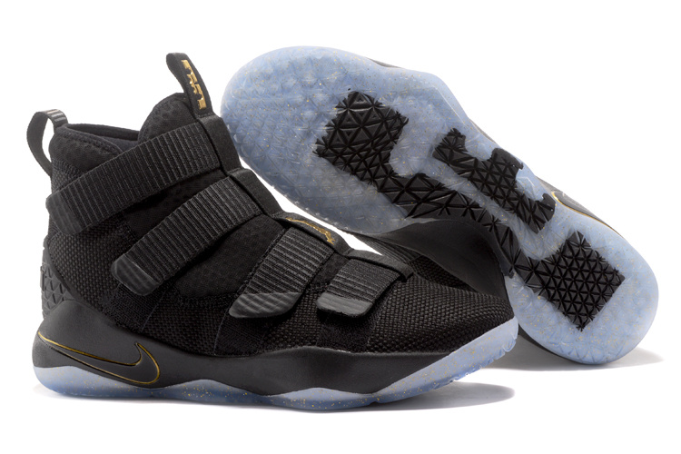 Wholesale Cheap Nike LeBron Soldier 11 Black Metallic Gold For Sale - www.wholesaleflyknit.com