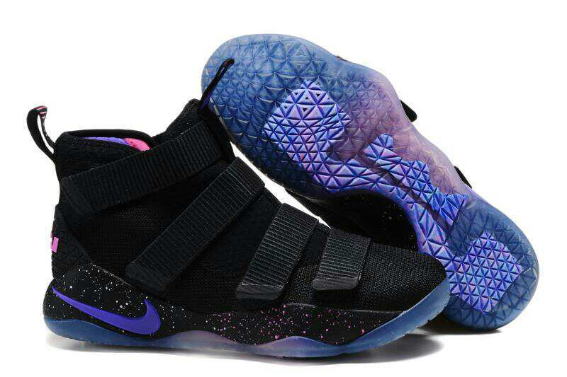 e83b0357a128 Wholesale Cheap Nike LeBron Soldier 11 Black Purple Pink Basketball Shoes  For Sale - www.