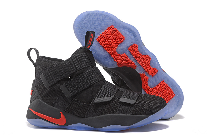 Wholesale Cheap Nike LeBron Soldier 11 Black Red For Sale - www.wholesaleflyknit.com