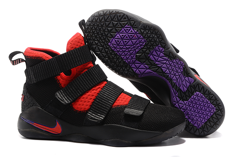 Wholesale Cheap Nike LeBron Soldier 11 Black Red Purple For Sale - www.wholesaleflyknit.com