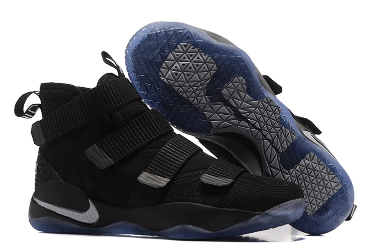 Wholesale Cheap Nike LeBron Soldier 11 Black Silver For Sale - www.wholesaleflyknit.com