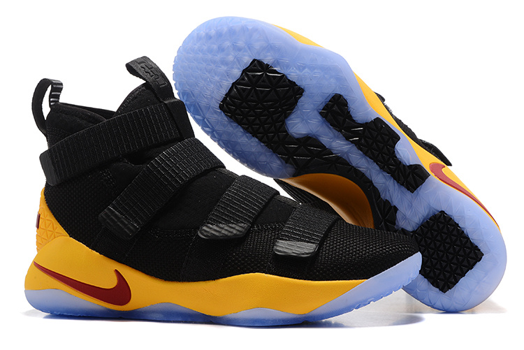 Wholesale Cheap Nike LeBron Soldier 11 Black Yellow-Team Red For Sale - www.wholesaleflyknit.com