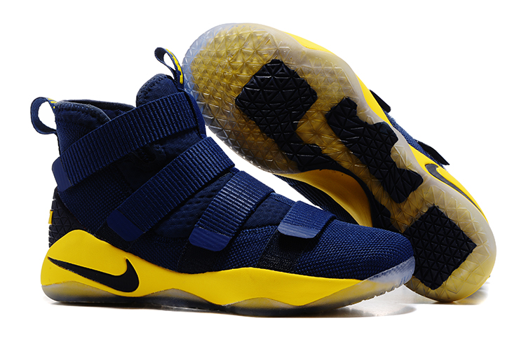 Wholesale Cheap Nike LeBron Soldier 11 Navy Blue Yellow-Black For Sale - www.wholesaleflyknit.com