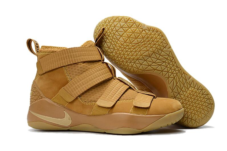 Wholesale Cheap Nike LeBron Soldier 11 Wheat Wheat Gold Metallic Gold For Sale - www.wholesaleflyknit.com
