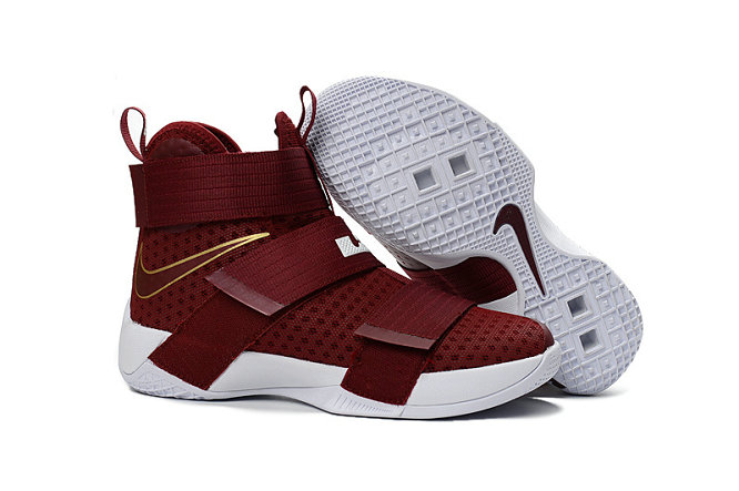 Wholesale Cheap Nike Lebron Soldier 10 X Gold Wine Red White - www.wholesaleflyknit.com
