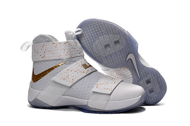 Wholesale Cheap Nike Lebron Soldier 10 X White Yellow Gold - www.wholesaleflyknit.com