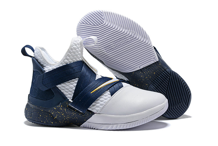 Cheapest Wholesale Nike Lebron Soldier 12 Navy Blue White Yellow - www.wholesaleflyknit.com