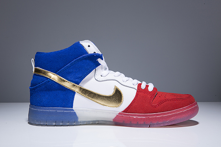 Wholesale Cheap Nike SB Dunk High PREM Tricolor White Red Blue For Mens - www.wholesaleflyknit.com