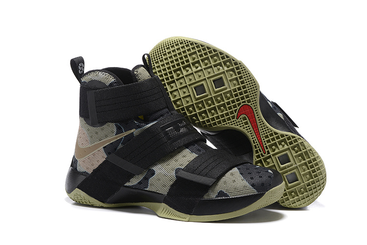 Wholesale Cheap NikeLebronSoldier 10 Black Grey Green - www.wholesaleflyknit.com