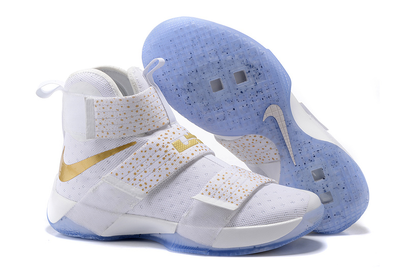 Wholesale Cheap NikeLebronSoldier 10 Gold White Blue - www.wholesaleflyknit.com