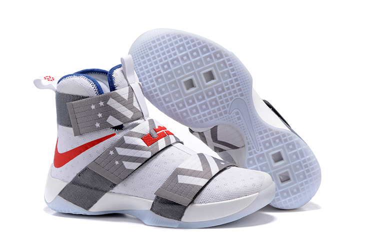 Wholesale Cheap NikeLebronSoldier 10 Grey Red White - www.wholesaleflyknit.com