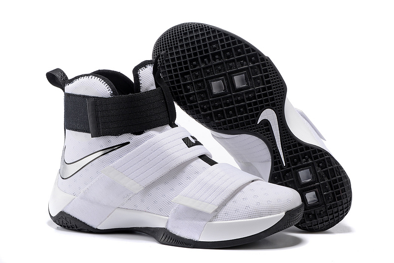 Wholesale Cheap NikeLebronSoldier 10 White Black Silver - www.wholesaleflyknit.com