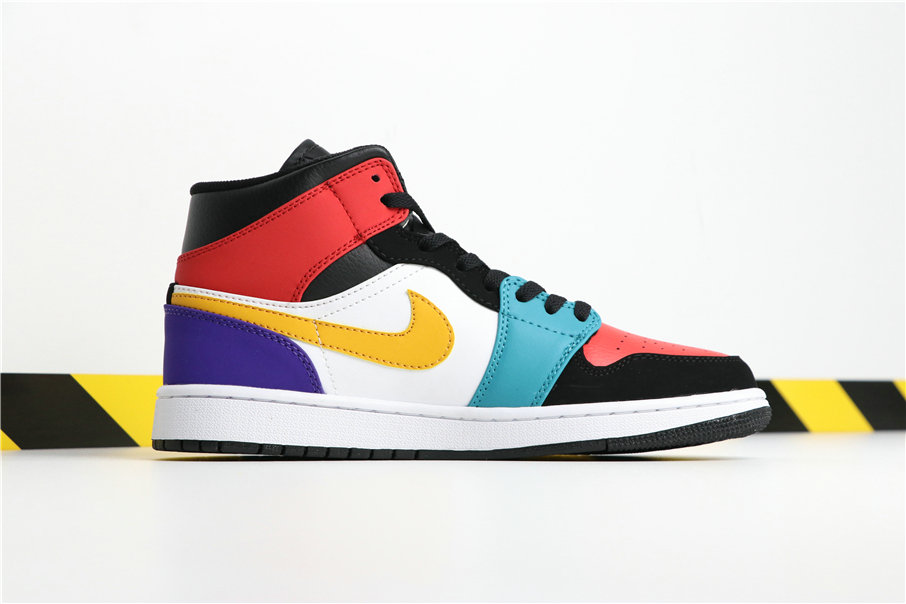 Wholesale Cheap Nikes Air Jordans 1 MID 554724-125 White University Red Black Blanc Noir Rouge-www.wholesaleflyknit.com