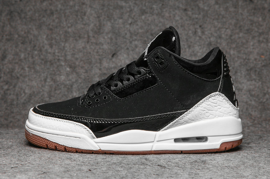 Wholesale Cheap Nikes Air Jordans 3 Black White-Gum Brown 441140-022-www.wholesaleflyknit.com