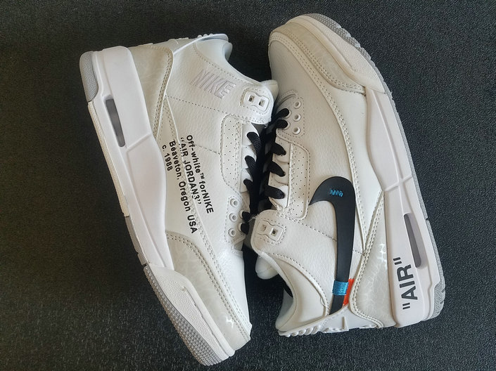 Wholesale Cheap Nikes Air Jordans 3 x Off-white -White Black Grey Noir-www.wholesaleflyknit.com