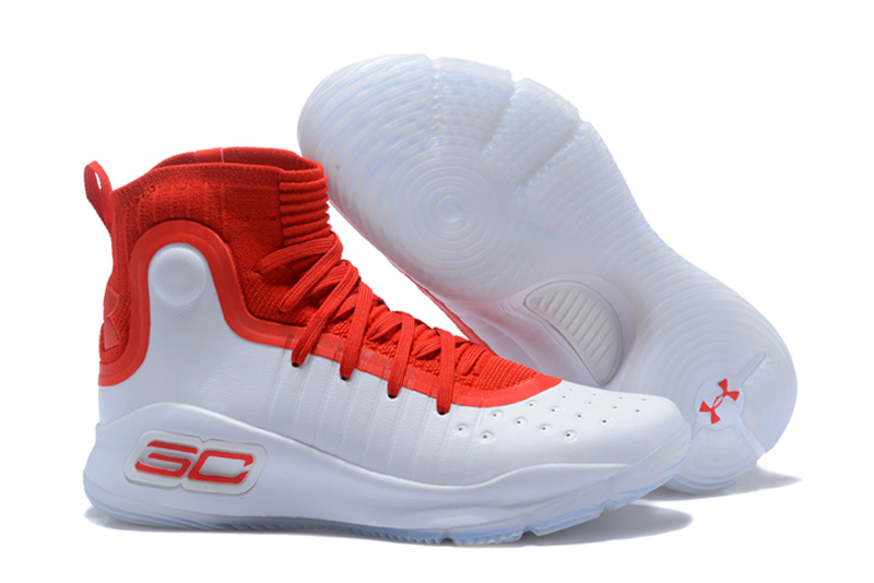 Wholesale Cheap UA Curry 4 White University Red Basketball Shoes For Sale - www.wholesaleflyknit.com
