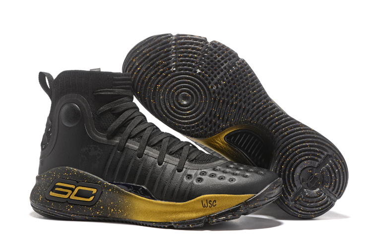 Wholesale Cheap Under Armour Curry 4 GS Black Gold Finals PE For Sale - www.wholesaleflyknit.com