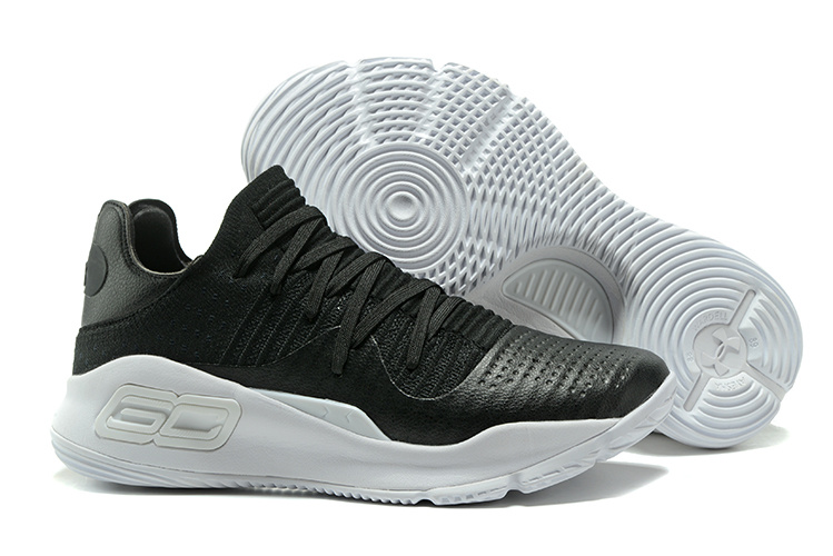 Wholesale Cheap Under Armour Curry 4 Low GS Black White For Sale - www.wholesaleflyknit.com