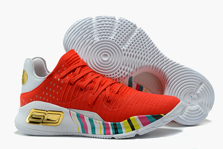 Wholesale Cheap Under Armour Curry 4 Low GS CNY Red Gold White For Sale - www.wholesaleflyknit.com