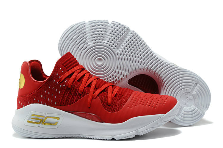 Wholesale Cheap Under Armour Curry 4 Low GS Wine Red White For Sale - www.wholesaleflyknit.com