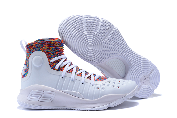 Wholesale Cheap Under Armour Curry 4 White Multi-Color For Sale - www.wholesaleflyknit.com