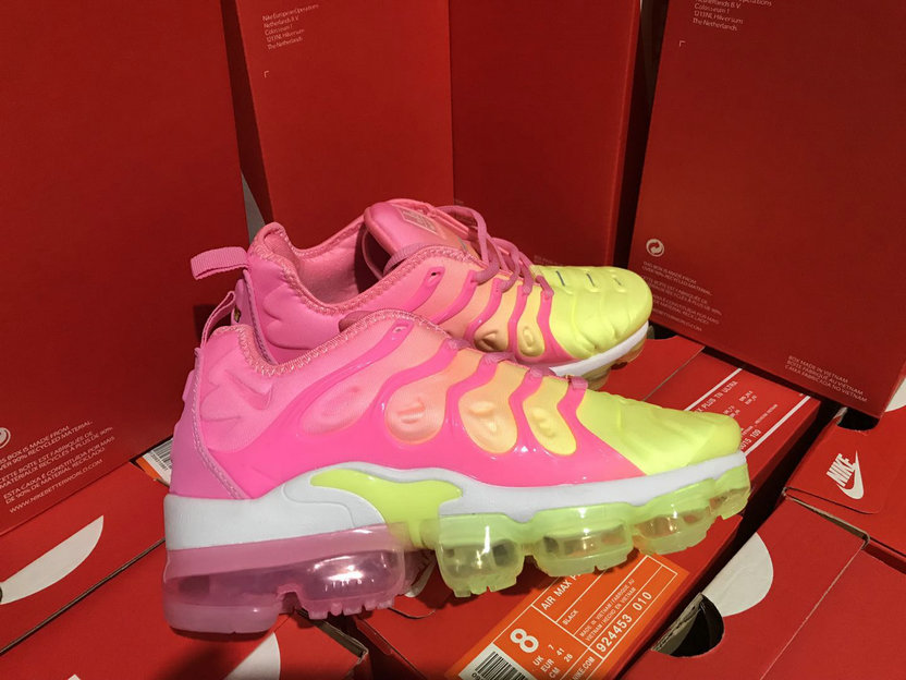 Wholesale Cheap Womens NikeLab Air VaporMax Plus Pink Yellow White - www.wholesaleflyknit.com