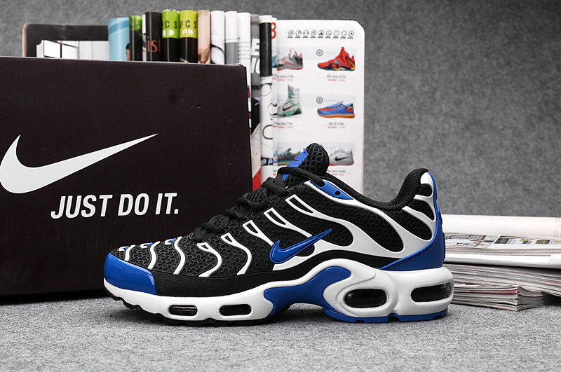 Wholesale Cheap Customize Nike TN Shoes Nike Air Max White Black Blue - www.wholesaleflyknit.com