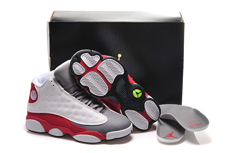 Wholesale Cheap Girls Air Jordan 13 Retro Cement Grey White Black-True Red-Cement Grey For Sale - www.wholesaleflyknit.com