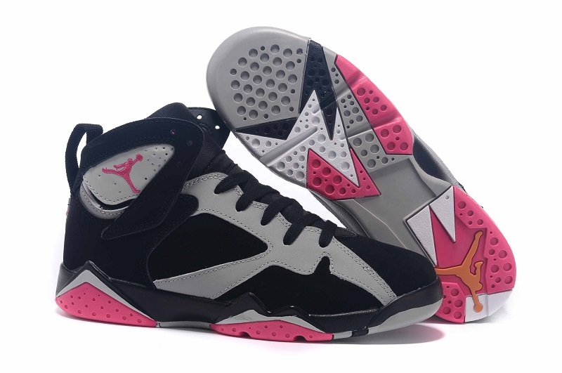 Wholesale Cheap Girls Air Jordan 7 Fuchsia Flash Black Sport Fuchsia Pink-Grey - www.wholesaleflyknit.com
