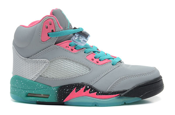 Wholesale Cheap Girls Air Jordans 5 Miami Vice Grey Teal-Pink For Sale - www.wholesaleflyknit.com